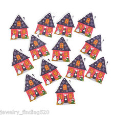 Lots Wholesale Red Christmas House Wood Sewing Button 2-Holes Scrapbooking