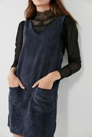 MOTEL ROCKS Bridget Pinafore in Mega Cord Navy   (MR115)