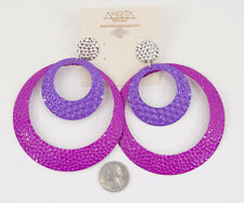 NWT Amrita Singh Beyonce Pink Purple Hammered Huge Hoop Earrings ERC 1506