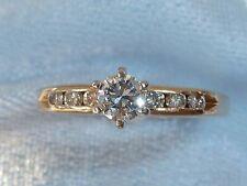 Vintage 14K Yellow Gold Ring, 3.6mm Diamond, 6, 2mm Diamonds, 1/3 TCW, size 7