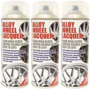 3 x E-Tech Clear Alloy Wheel Lacquer Spray Chip Resistant Refurbishing 400ml