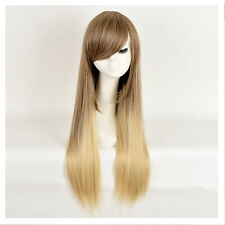 Fashion Women Brown Blonde Ombre Wig Long Straight Hair Wigs