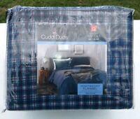 Cuddl Duds Queen Sheet Set Heavyweight Flannel Navy Plaid 100% Cotton NEW JN19