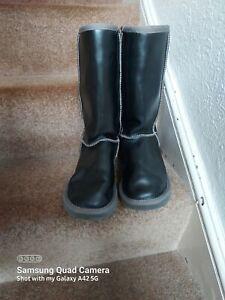 UGG Australia Women's Classic Tall Black Metallic Leather Sheepskin Boots UK 6