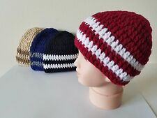 Handmade crochet striped Beanie hats - set of 4 for 6-12 month baby boy