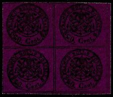 PAPAL ROMAN STATES, 20 CENT., VIOLET  PAPER, YEAR 1867, BLOCK OF 4, MINT