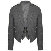 Tweed Crail Highland Prince Charlie Kilt Jacket and Waistcoat Scottish All Sizes