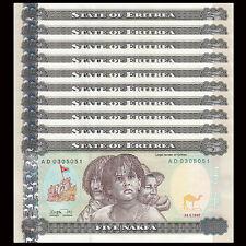 Lot 10 PCS, Eritrea 5 Nakfa, 1997, P-2, UNC