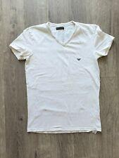 Emporio Armani Para Hombre Blanco Escote en V Camiseta Talla L