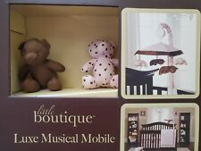 NEW LITTLE BOUTIQUE PINK BROWN POLKA DOT BEARS MUSICAL CRIB MOBILE