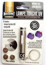 Lampe Torche UV LED Blanches Porte-Clé Piles Fournies 7cm Repérez Faux Billet