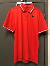 Nike Dry Tipped Golf Polo Modern Dri Fit Shirt Orange White 833075-852 Men's M