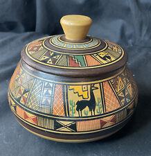 More details for cusco peru art pottery bowl lid ceramic ethnic south america hand thrown llama