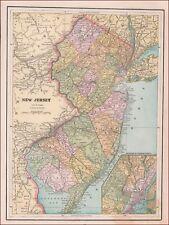 NEW JERSEY + HUDSON COUNTY ANTIQUE MAP, ORIGINAL 1894