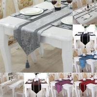SHINY BLING SILVER THICK CRUSHED VELVET TASSELS WEDDING BED TABLE RUNNER CLOTH