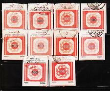 INDIA 100 RS TOP VALUE CRF FISCAL 10 STAMPS LOT #1080