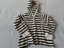 Baby Girls 18-24 Months - Grey & Black Striped Long Sleeved Hooded Top