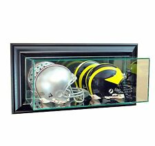 Wall Mounted Glass Double Mini Helmet Display Case Black  Molding Free Shipping