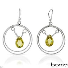 BOMA 925 STERLING SILVER AND GREENISH YELLOW CUBIC ZIRCONIA HOOK DANGLE EARRINGS