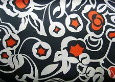 """Fab Stretch Poly Satin Print Fabric -Black Red & Ivory Print - 150cm or 60"""" wide"""