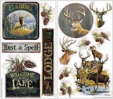 LODGE 13 Wall Decals Rustic Hunting Room Decor Stickers Deer Elk Lake Cabin Home