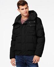 GUESS Men's Coat M Black Hooded Snorkel Jacket Fleece Lined Hood MSRP $295