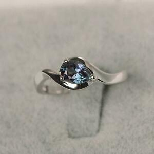 3Ct Pear Cut Alexandrite Diamond Solitaire Engagement Ring 14K White Gold Finish