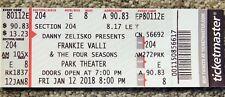 Frankie Valli & 4 Seasons Original Concert Used Ticket, Jan 12 2018 Park Theatre