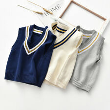 Kids Boys Girls Vest Knitted Jumper Sleeveless Sweater Cardigan Baby Jumpers