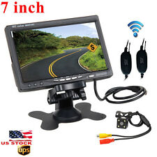 """Wireless Rear View Back up Camera Night Vision System+7"""" Monitor for Car SUV USA"""