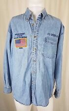 FD Sprinklers Never Forget September 11th 911 Denim Shirt 5th Anniversary Mens L