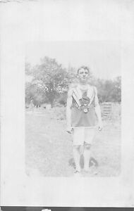 H43/ Sports Postcard RPPC c1910 Track Runner Medals Win Proud 13