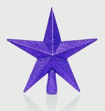Christmas Tree Topper Decoration 200mm Shatterproof Glitter Star - 12 Colours Purple