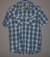 Patagonia 100% Organic Cotton Blue Gray Plaid Short Sleeve Shirt Men's Sz M A7