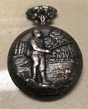 Vintage Incabloc Arleese' 17 Jewel Fishermans Theme Swiss Made Pocket Watch!