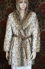 Vintage Tissavel Country Pacer France Faux Fur Snow Leopard Leather Trim Coat XS