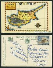 More details for cyprus map the island of venus qeii 20m beach aphrodite 1956 old tuck's postcard