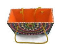 Handmade Handpainted Wooden basket, Multipurpose Small Basket with Handle