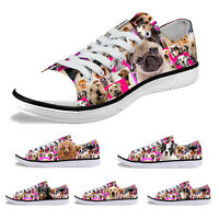Womens Mens Low Top Canvas Shoes Sneakers Trainers Comfort Walking Casual Pink