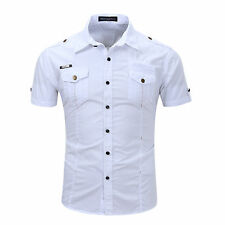 New Military Cotton Men's Camisas Social Army style Short Sleeves Shirts GD126