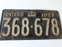VTG 1957  Ontario License Plate 368 678 Canada Crown