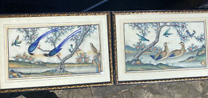 Very rare pair of 19th century Chinese rice paper paintings