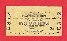 LT Edmondson Platform Ticket ~ London Transport - Hyde Park Corner 5p - 1978