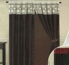 Satin Flocked Beige Brown Window Curtain Panels Liner Tassel AT LINEN PLUS