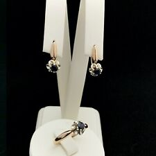 Russian Chic Gold Set Earrings and Ring With Sapphire Stamp 585 Adamas