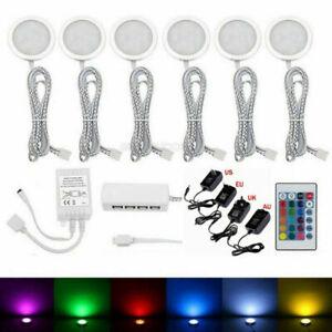 Under Cabinet Lights Kit LED Kitchen Counter Shelf Closet RGB Puck Display Lamp