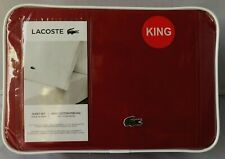 LACOSTE  King Sheet Set 100% Cotton Percale Solid GARNET Red Green Logo