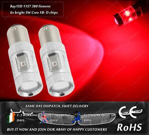 Cree LED BAY15D 1157 380 P21/5W Xenon Red Rear Tail Stop Brake Light Bulbs 12V