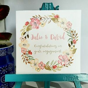 PERSONALISED Handmade Engagement Card Floral Wreath Watercolour Print Card