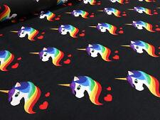 Stoff Baumwolle Jersey Einhorn Unicorn Herzen schwarz bunt Kinderstoffe